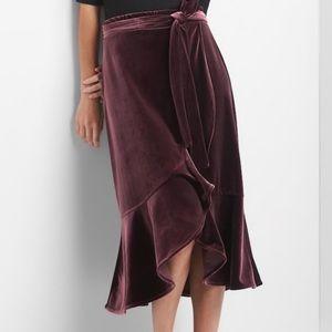 """Gap """"Vamp Red"""" Velvet Wrap Ruffle Skirt"""